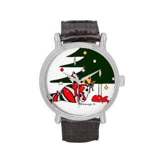 Reloj envuelto regalo de la correa de cuero del na