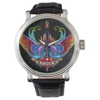Reloj eterno del cuero del negro del tatuaje del