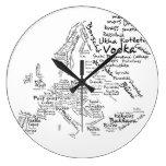 Reloj europeo de la cocina del mapa de la comida