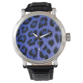 Reloj eWatchFactory del estampado leopardo azul de