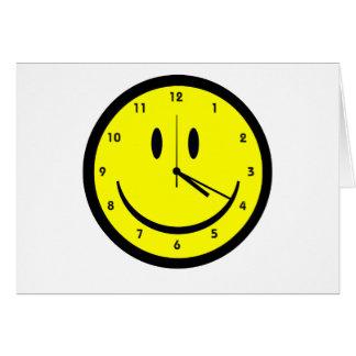 Reloj feliz de la cara del hippy tarjeta de felicitación