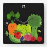 Reloj feliz de la fruta y de pared de los Veggies