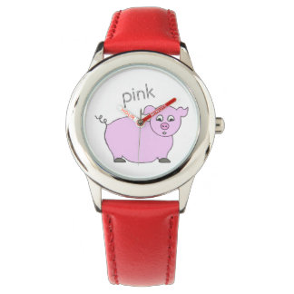 Reloj femenino de los niños del cerdo rosado lindo