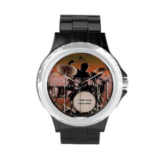 Reloj fijado tambores del batería
