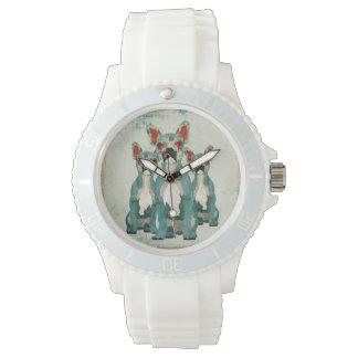 Reloj floral azul de los dogos franceses