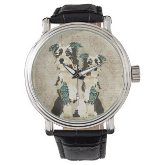 Reloj floral azul del vintage de los perros