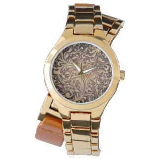 Reloj floral de oro