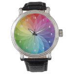Reloj floral del diseño de la rueda de color