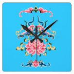Reloj floral del diseño del chino