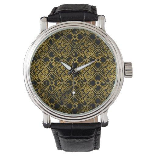 Reloj floral del Grunge negro y amarillo