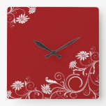 Reloj floral rojo de los remolinos del boda de luj