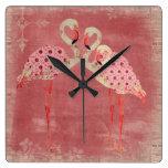 Reloj floral rosado de los flamencos del vintage