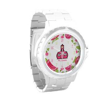 Reloj floral y rosado del profesor de la escuela