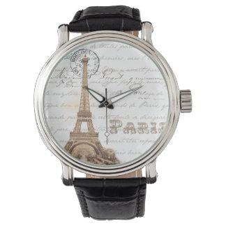 Reloj francés de la escritura del vintage de París