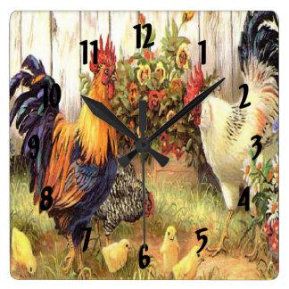 Reloj francés de la impresión de la gallina del ga