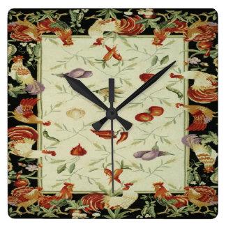 Reloj francés de la impresión de los gallos de los