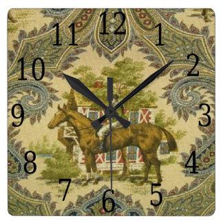 Reloj francés de la impresión del caballo de la de