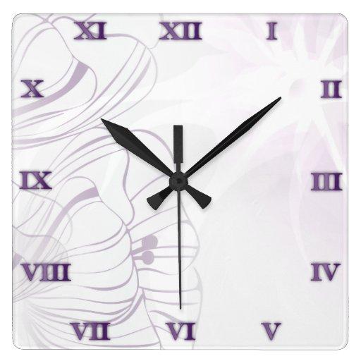 Reloj francés de las amapolas de la lila