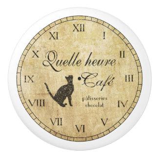 Reloj francés del café del vintage - botón pomo de cerámica