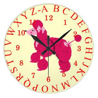 Reloj francés rosado lindo de la imagen del alfabe