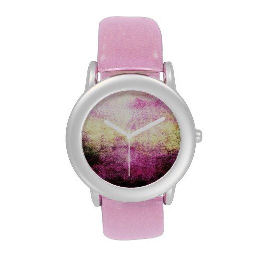 Reloj fresco del Grunge urbano abstracto rosado pr