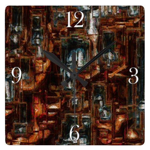 Reloj geométrico rústico del arte moderno del bloq