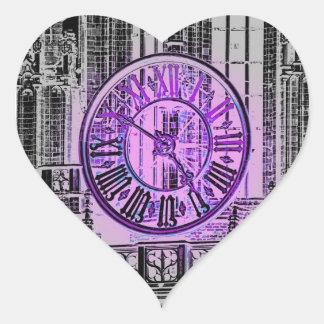 Reloj gigante gótico del número romano pegatina en forma de corazón