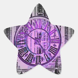 Reloj gigante gótico del número romano pegatina en forma de estrella