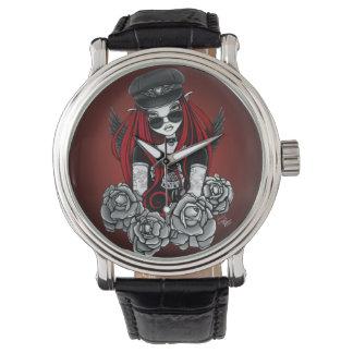Reloj gótico del negro del tatuaje del ángel de