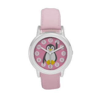 Reloj gráfico de los niños del pingüino lindo
