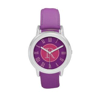 Reloj gráfico rosado, púrpura de los chicas del