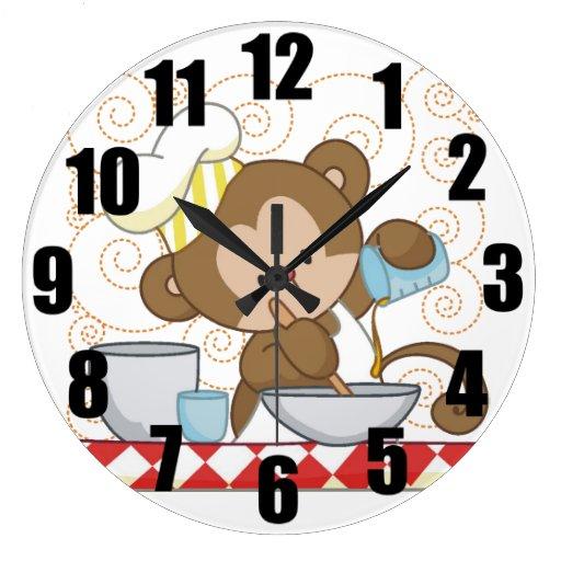 Reloj grande de la cocina del cocinero del mono
