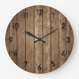 Reloj grande de los tablones de madera rústicos de