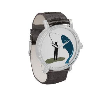 Reloj grande de salto del pescador de la captura d