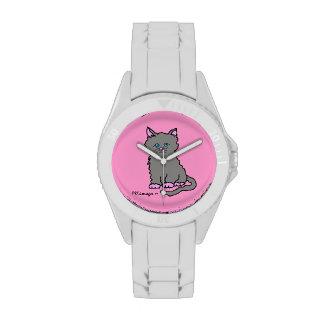 Reloj gris del gatito de las patas rosadas