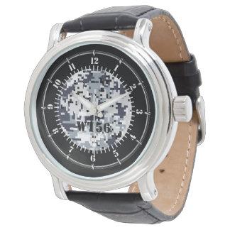 Reloj gris urbano personalizado del camuflaje de