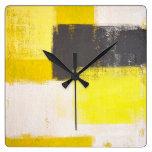 """Reloj gris y amarillo """"simplemente moderno"""" del"""