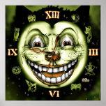 Reloj Halloween del gato negro 13 Póster