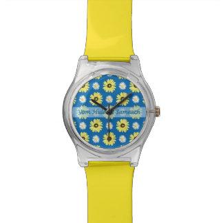 Reloj hebreo del azul de océano de las margaritas