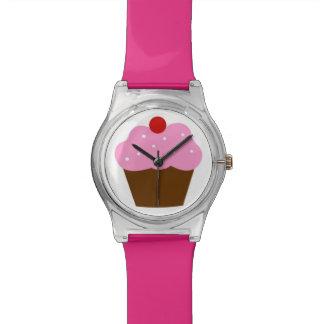 Reloj helado chocolate rosado de la magdalena de l