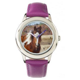 Reloj hermoso de los niños del caballo de la