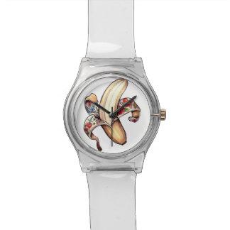 Reloj icónico del logotipo del plátano