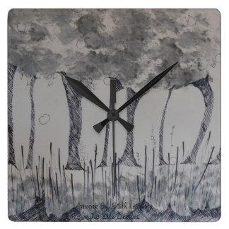 Reloj imaginario del cuadrado del bosquejo del árb