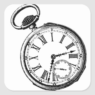 Reloj inclinable de la cara del reloj de bolsillo pegatina cuadrada
