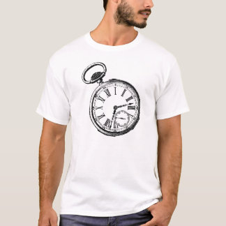 Reloj inclinable de la cara del reloj de bolsillo playera