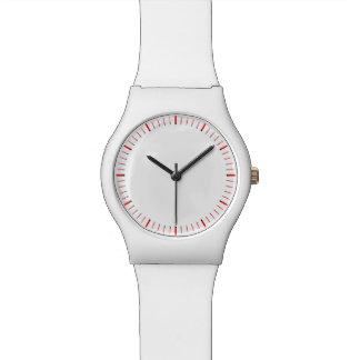 Reloj innumerable simplemente rojo y blanco