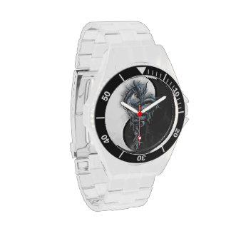 Reloj inoxidable de Steeel del dragón chino de Yin