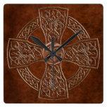 Reloj irlandés céltico de la imitación de cuero