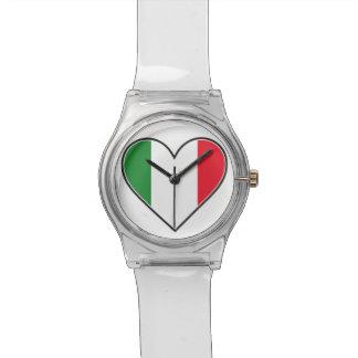 Reloj italiano del corazón de la bandera