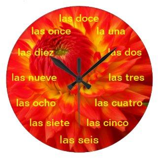 Reloj - La Dalia naranja y amarilla Clocks